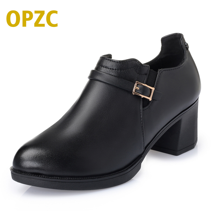 OPZC 2018 new woman shoes ,Fashion Spring Genuine leather women pumps, cowhide thick with large size 35#-43# of dress shoes 2018 spring and winter new first layer of large size high heeled cowhide leather shoes bow with patent leather shoes female
