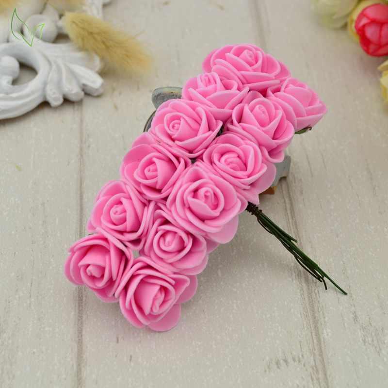 12 قطعة PE رغوة روز الزهور الاصطناعية رخيصة ل ديكورات منزلية لحفل الزفاف DIY اكليلا هدية مربع سكرابوكينغ الإبرة ورد صناعي