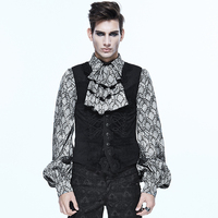 Fashion Classical Men Gothic Fancy Embroidered Waistcoats Steampunk Autumn Winter V Collar Vests Party Prom Dress