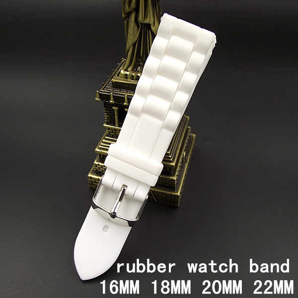 1PCS High quality 16MM 18MM 20MM 22MM rubber watch strap white color Watch band women and men watch strap -WBR001