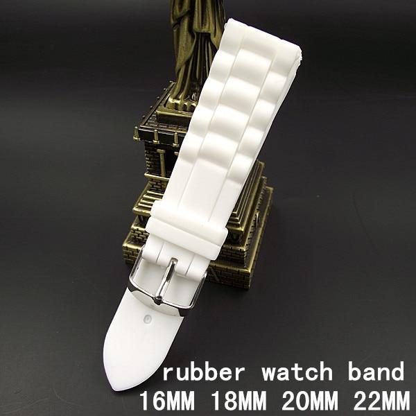 1 Pz Di Alta Qualità 16 Mm 18 Mm 20 Mm 22 Mm Cinturino In Gomma Di Colore Bianco