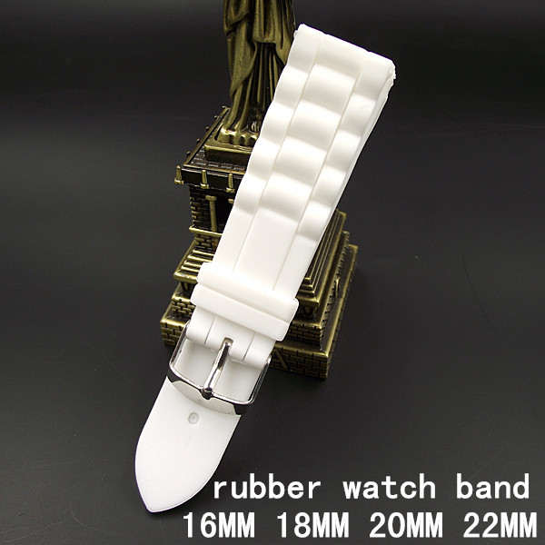 1PCS High quality 16MM 18MM 20MM 22MM rubber watch strap white color Watch band