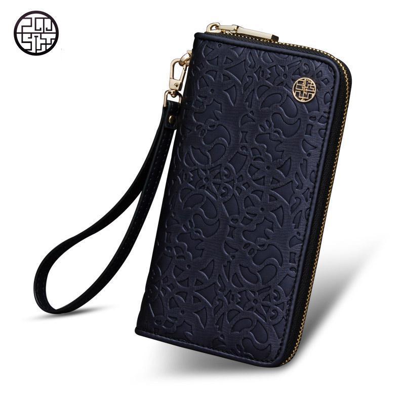 Pmsix Women Wristlet Wallet Purse Designer Wallet Women Famous Brand Leather Wristlet Clutch slim wallet Vintage Zipper Purple