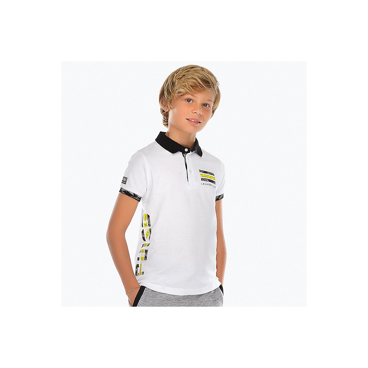 MAYORAL Polo Shirts 10689149 children clothing t-shirt shirt the print for boys green letter print t shirt