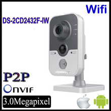 Original Hikvision Wifi IP Camera wireless DS-2CD2432F-IW CCTV 3MP Cube Mini Cameras IP POE Wifi Wireless Camera