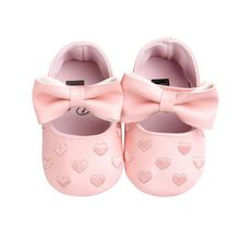 Fashion Toddler Girl Crib Shoes 0-18M Baby Bowknot Soft Sole PU Leather Walking Prewalker Sneakers