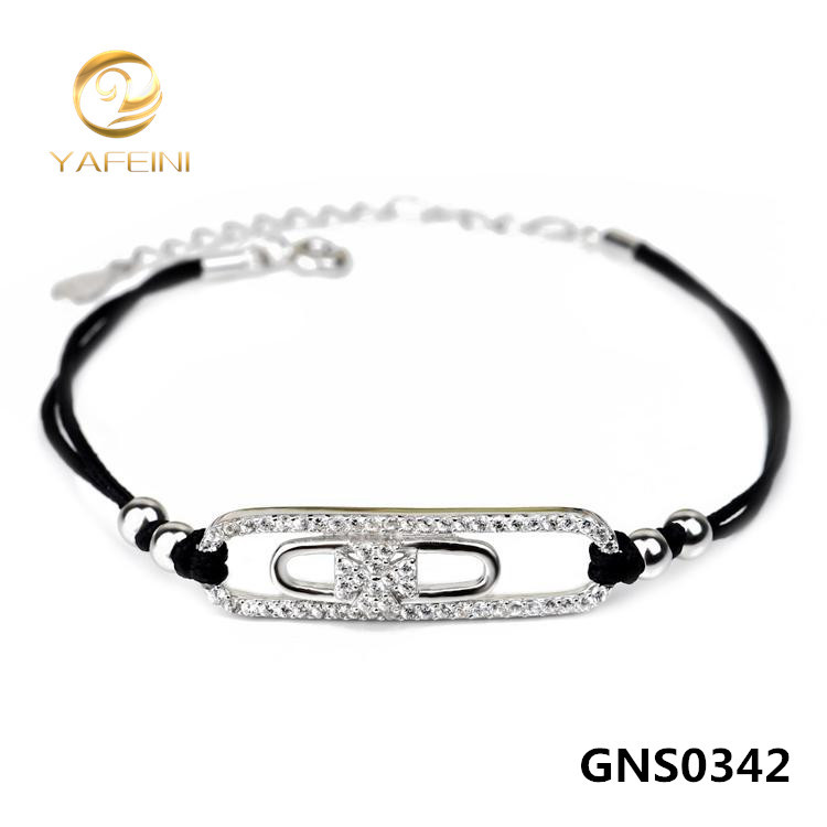 Wholesale 1PC 925 Sterling Silver Bracelet Fashion DIY Jewelry Handmade CZ Bracelet with Black Code Top