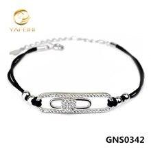 Venta al por mayor 1 unid plata de ley 925 pulsera de moda DIY joyería artesanal CZ pulsera con código negro de calidad superior GNS0342