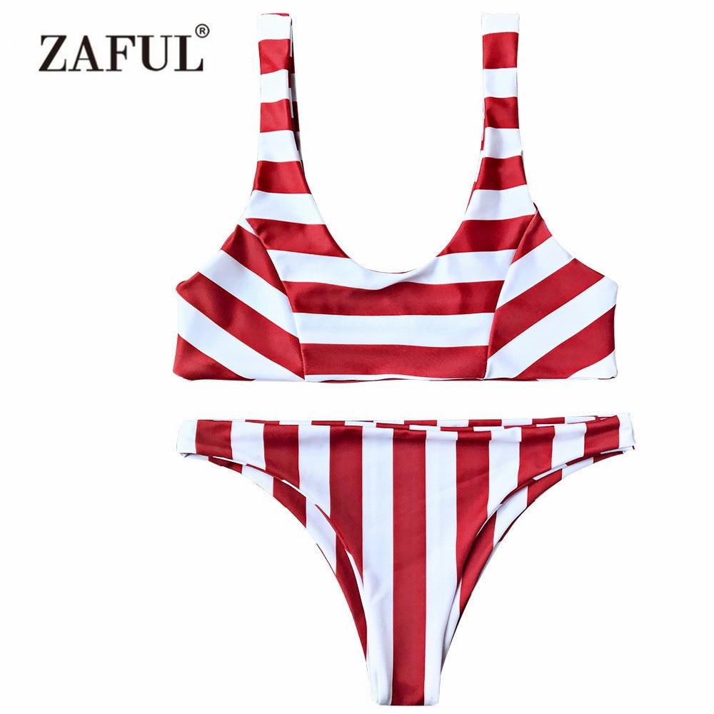 Zaful Bikinis Set Striped Scoop Neck Low Waist Bikini Women Swimwear 2017 Summer Beach Bathing Suit Female Brazil Sexy Bikini