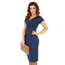 e2290bfb1e638 New Expectant Mother big size slim Dress candy color package hip V neck  sexy Pregnant woman
