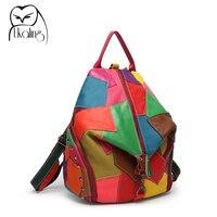 2015 Patchwork Genuine Leather Bag Womens Backpack Cowhide Backpack School Backpacks Mochila Feminina Dollar Price