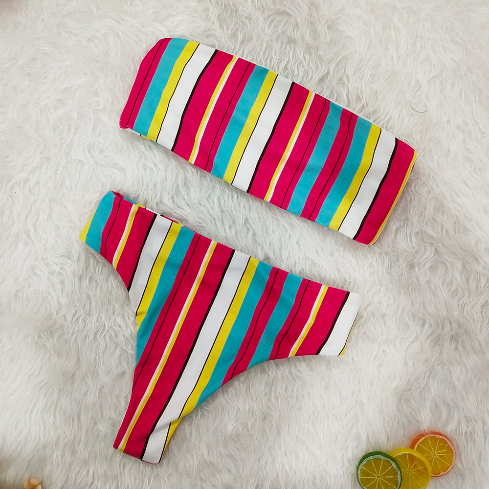 2019 Sexy Colorfu Rainbow Striped Floral Bandeau Biquini Swim Beach Wear Female Cut High Waist Swimsuit Swimwear Women Bikini