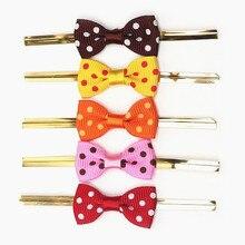 Free Shipping 800pcs/lot White Dots Grosgrain Ribbon Bow Pre-tied Polka Dot Bows