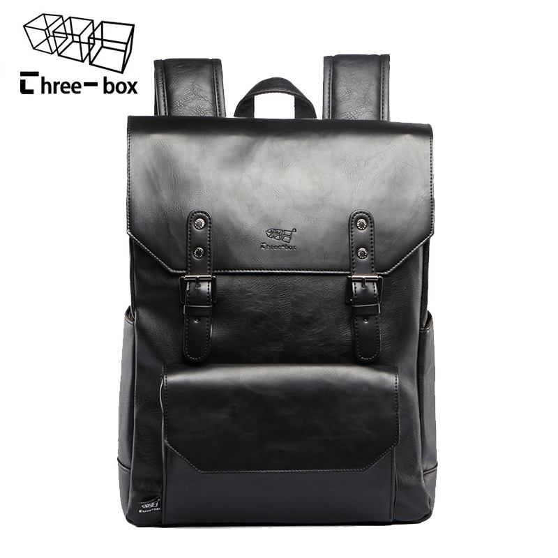 Men Leather Large Capacity Backpack Youth Travel Rucksack School Book Bag Male Laptop Casual Bagpack Shoulder Bags large 14 15 inch notebook backpack men s travel backpack waterproof nylon school bags for teenagers casual shoulder male bag