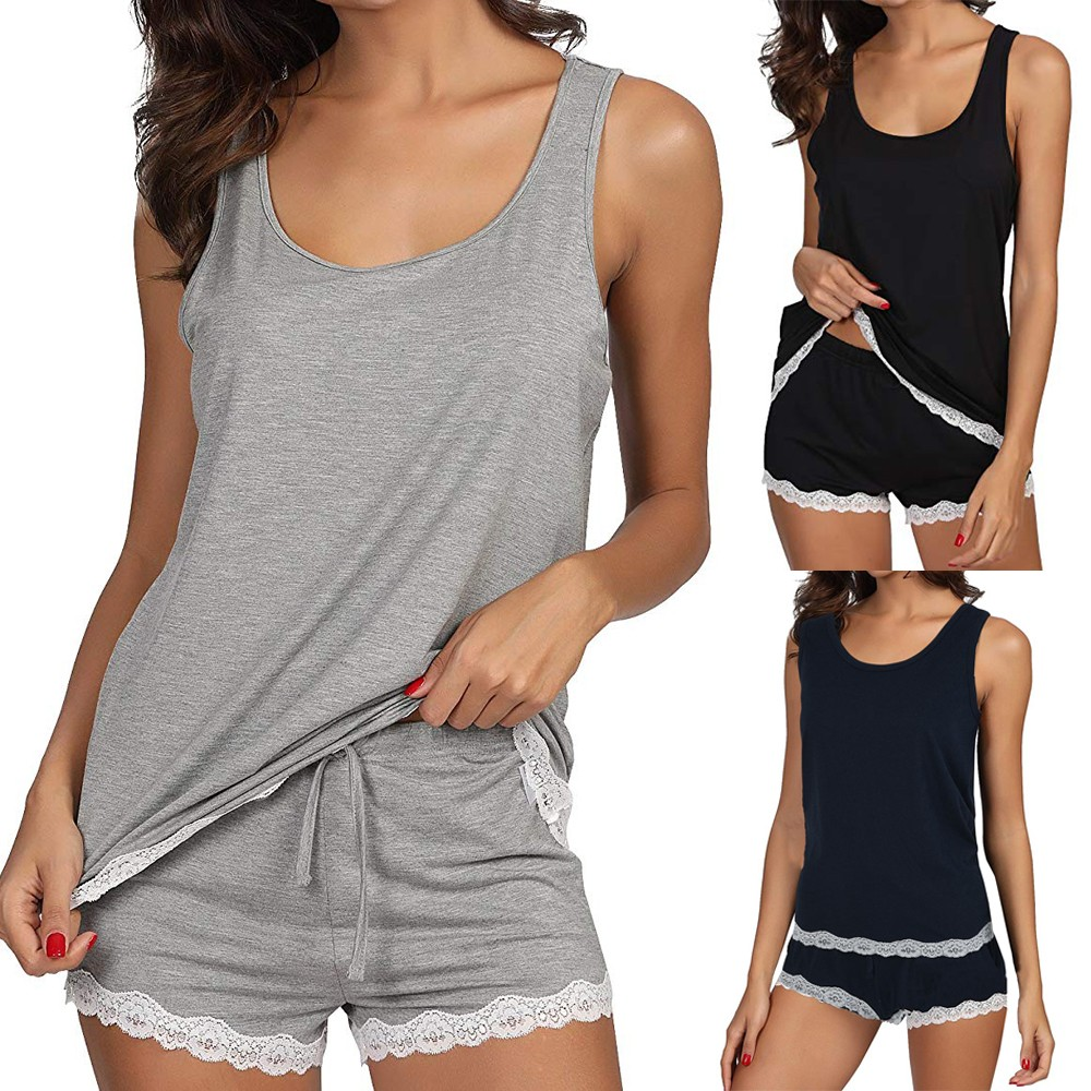 Lingerie Sleepwear-Sets Bamboo-Tank Striped Womens Solid And S70 Grey Mujer