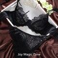 Yomrzl L071 Marca de estilo de verão sexy transparente silk magro mulheres bra sets breve, Bordados rendas cueca insinua conjunto de lingerie