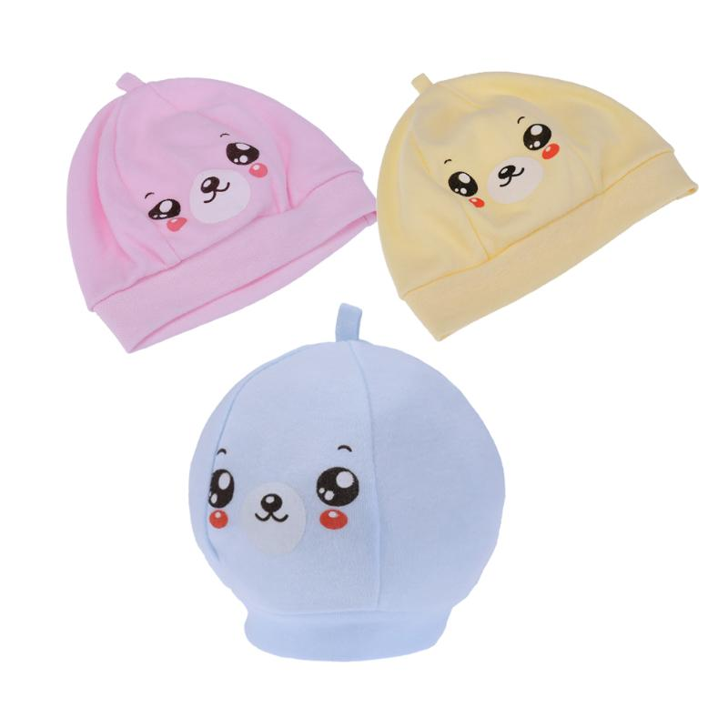 Lovely Newborn Baby Cap Soft Cotton Comfortable Cartoon Smiling Face Hat Spring Autumn Warm Cap 0-6 Months Baby Beanie Hat