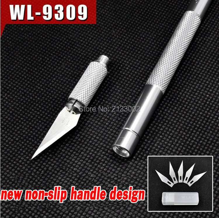 Non-Slip Metal Wood Carving Tools Fruit Food Craft Sculpture Engraving Utility Knife With 6 Blades For Stationery Art Supplies