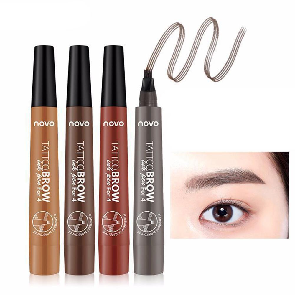 NOVO Waterproof Long Lasting Smudge-Proof Four Tips Tattoo Liquid Eyebrow Pencil Makeup Women Cosmetics Female