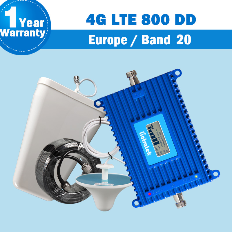 Lintratek NEW Band 20 4G LTE 800 DD Europe Mobile Phone Signal Booster Amplifier 70dB with