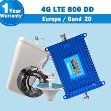 Lintratek 새로운 밴드 20 4G LTE (800 DD) 유럽 휴대 전화 신호 부스터 증폭기 70dB 안테나 lte 800mhz 4G 리피터 S26