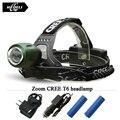 2016 High quality zoom headlamp Rechargeable Headlights CREE XML T6 Head Lamp LED Head light Flashlight Lantern 18650