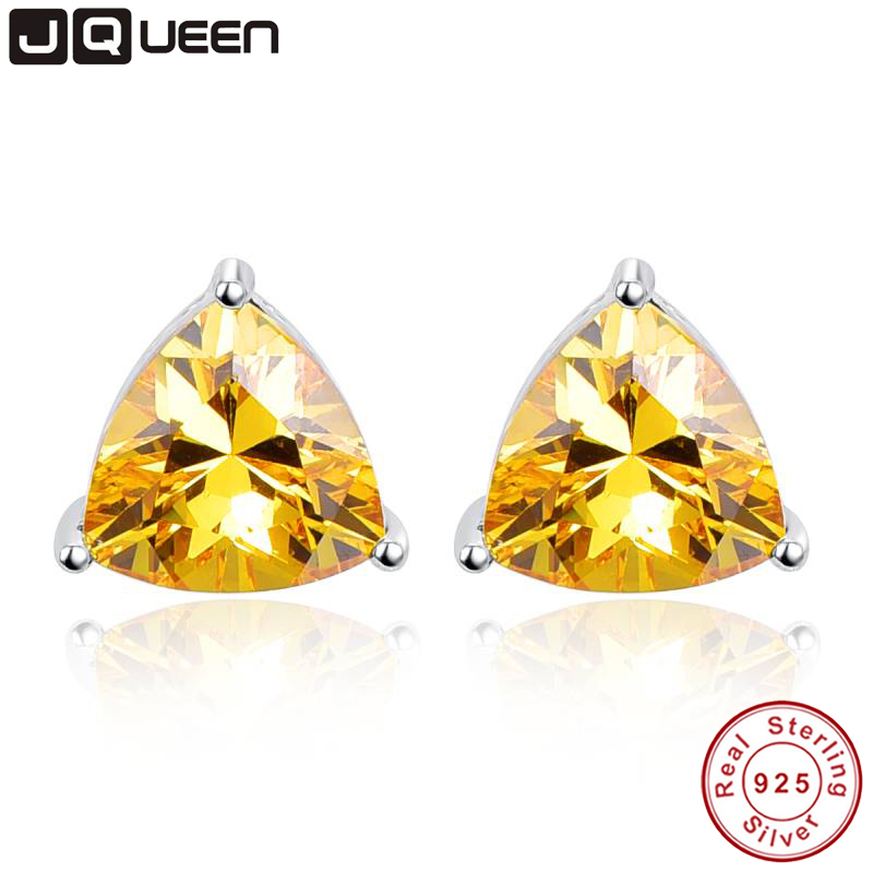 6.2ct Asli 925 Sterling Silver Pernikahan Engagement Jewelry Segitiga Citrine Earrings brincos Fashion Jewelry untuk wanita