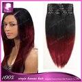 Cabeça clipe em 100% cabelo humano completo de extensão ombre # 1B / 99J cabelo trama reta cabelo cor de tom dois tecer para mulheres