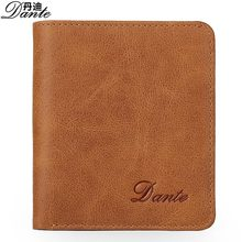 Mini Vintage Wallets Genuine Cow Leather Mens Wallet Card Holder Dante Luxury Brand Brown Khaki Short MAN Coin Purse Gift