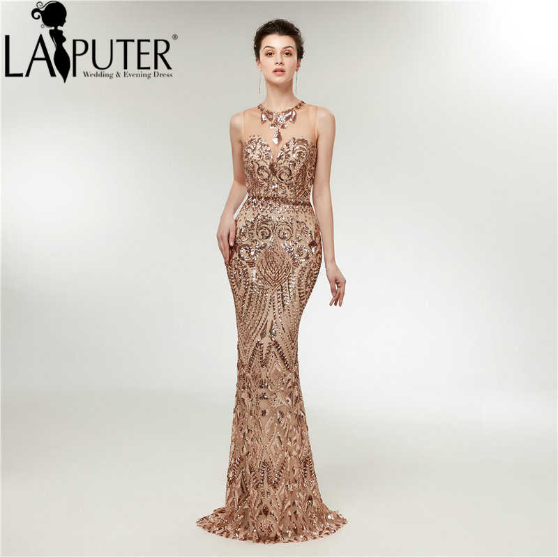 a536bd9a0a937 LAIPUTER Sequins Dresses O-neck Sleeveless Mermaid Sequins Prom Dress Floor  Length Sexy Long Evening