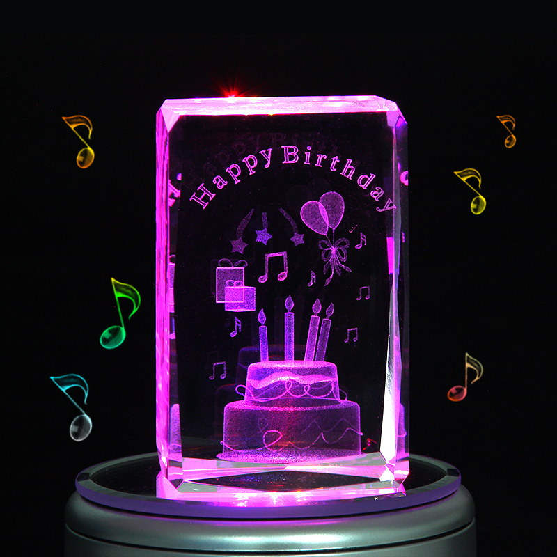 Engraved music box crystal birthday cake colorful 3d rotating engraved music box crystal birthday cake colorful 3d rotating custom lettering romantic best birthday gifts for girlfriend women in music boxes from home negle Choice Image