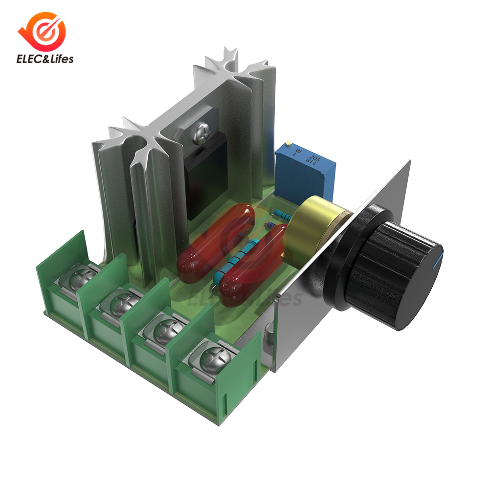 AC 220V 2000W SCR Dimming Dimmers Motor Speed Controller AC Voltage Regulator Module Adjustable 50-220V Thermostat Control