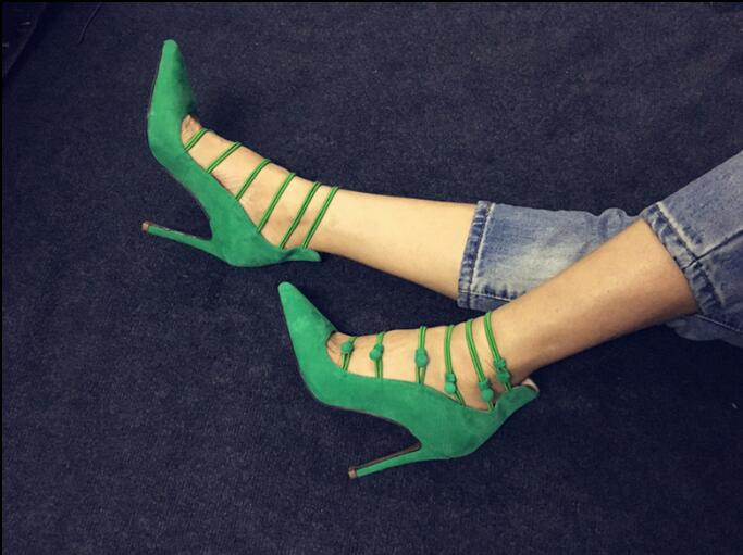 2018 spring green shoes women sexy pointed toe pumps shoes special design button ladies shoes fashion high heels pumps women green sexy self tie design button crop top