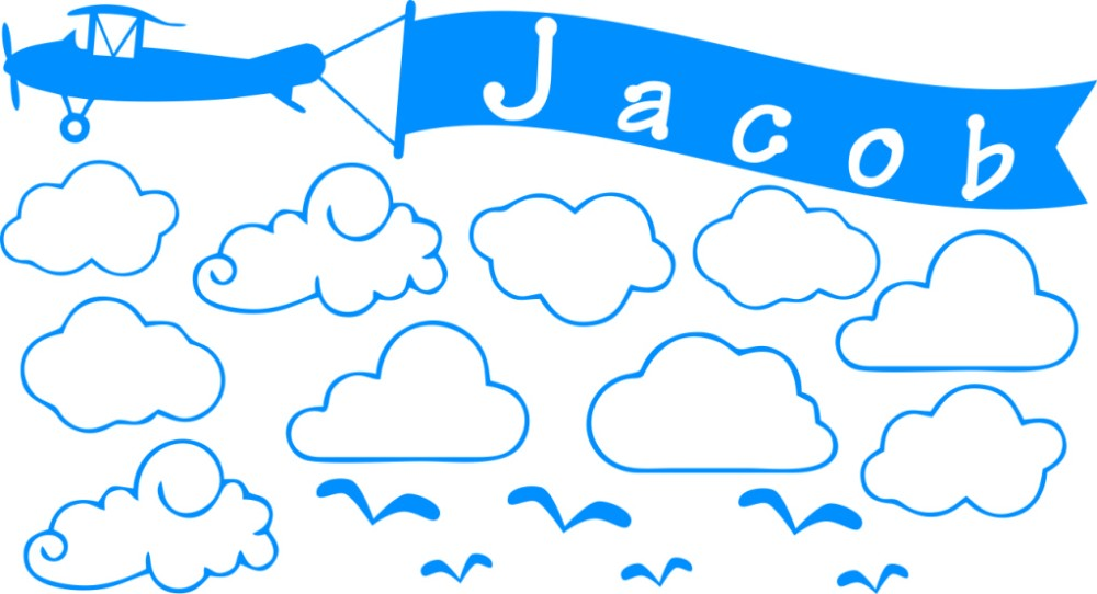 Aircraft Clouds Custom Personalized Name Stickers Vinyl Wall Art Home Living Room Mural Wall Decals Kids Room Decor W 860 in Wall Stickers from Home Garden