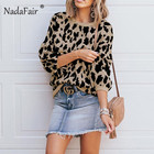 Nadafair o neck loose casual leopard print sweater women winter long sleeve knitted jumpers autumn female vintage pullover tops