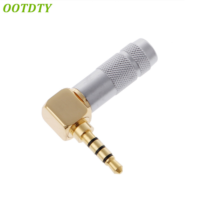 OOTDTY Brass Stereo 3.5mm 4 Pole 90 Degree Repair Headphone Jack Plug Cable SolderOOTDTY Brass Stereo 3.5mm 4 Pole 90 Degree Repair Headphone Jack Plug Cable Solder