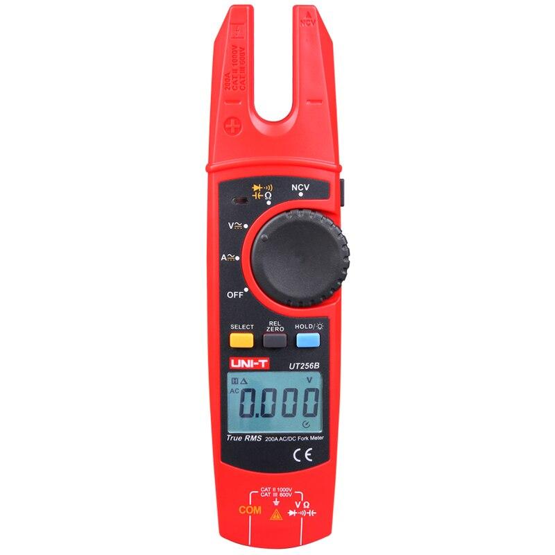 UNI-T UT256B Ture RMS Digital Clamp Fork Meter Multimeter AC DC Voltage Current Resistance Capacitance Meter NCV Tester uni t ut205 ture rms auto manual range digital handheld clamp meter multimeter ac dc voltage aca test tool