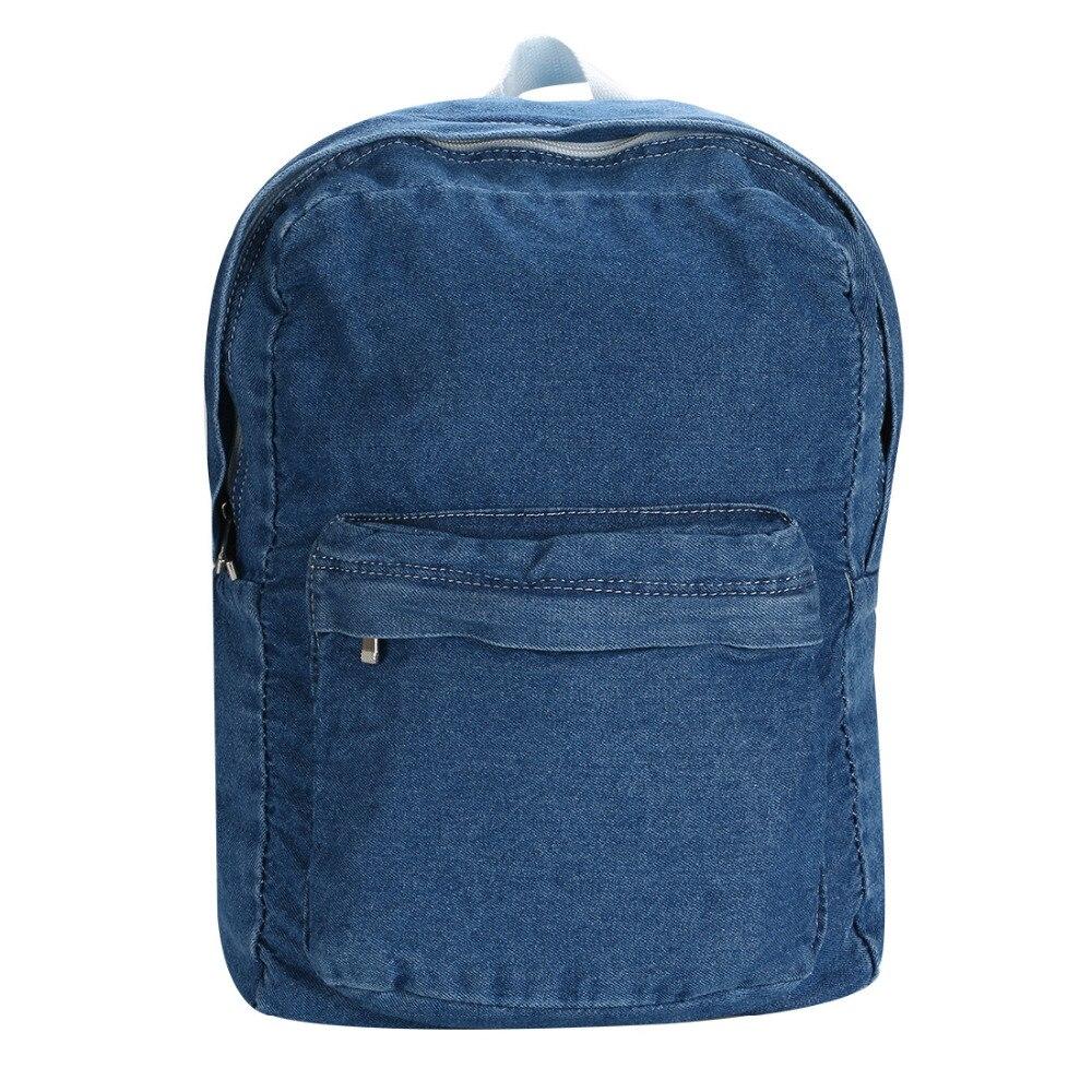 Unisex Women Denim Satchel Backpack Rucksack Shoulder School Bag Bookbag Bag 10 color women canvas backpack shoulder bag bookbag floral rucksack school student satchel hiking waterproof travel knapsack