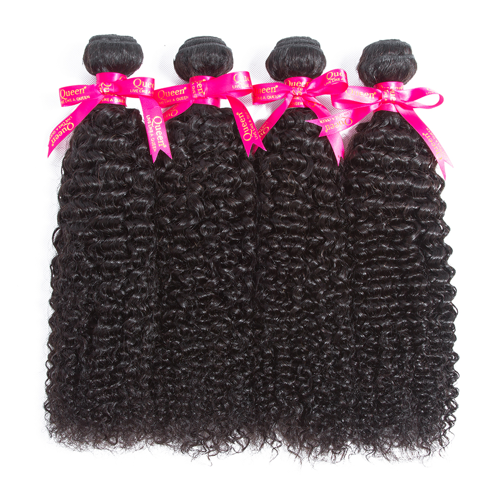 Queen Hair Peruvian Kinky Curly Hair Bundles Natural Color Human Hair Extensions Non Remy Hair Weave Bundles Free Shipping