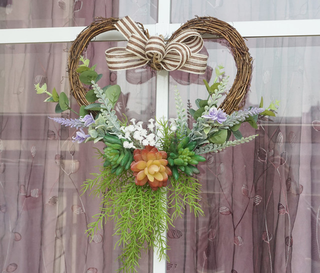 35cm Heart Wreath Front Door Wreath Wedding Decoration Flowers