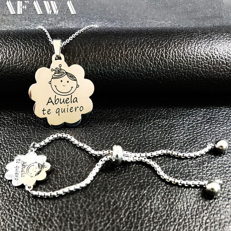 2018 Abuela Chaîne En Acier Inoxydable Bracelet Collier Set Femmes Bijoux Argent Couleur Ensembles Bijoux juego de joyeria de acero 178634