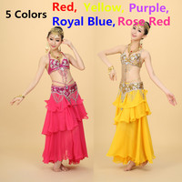 Belly Dance Costume Beaded Suit Set Bra 75C 80C 85C Belt Skirt Belly Dancing Plus Size