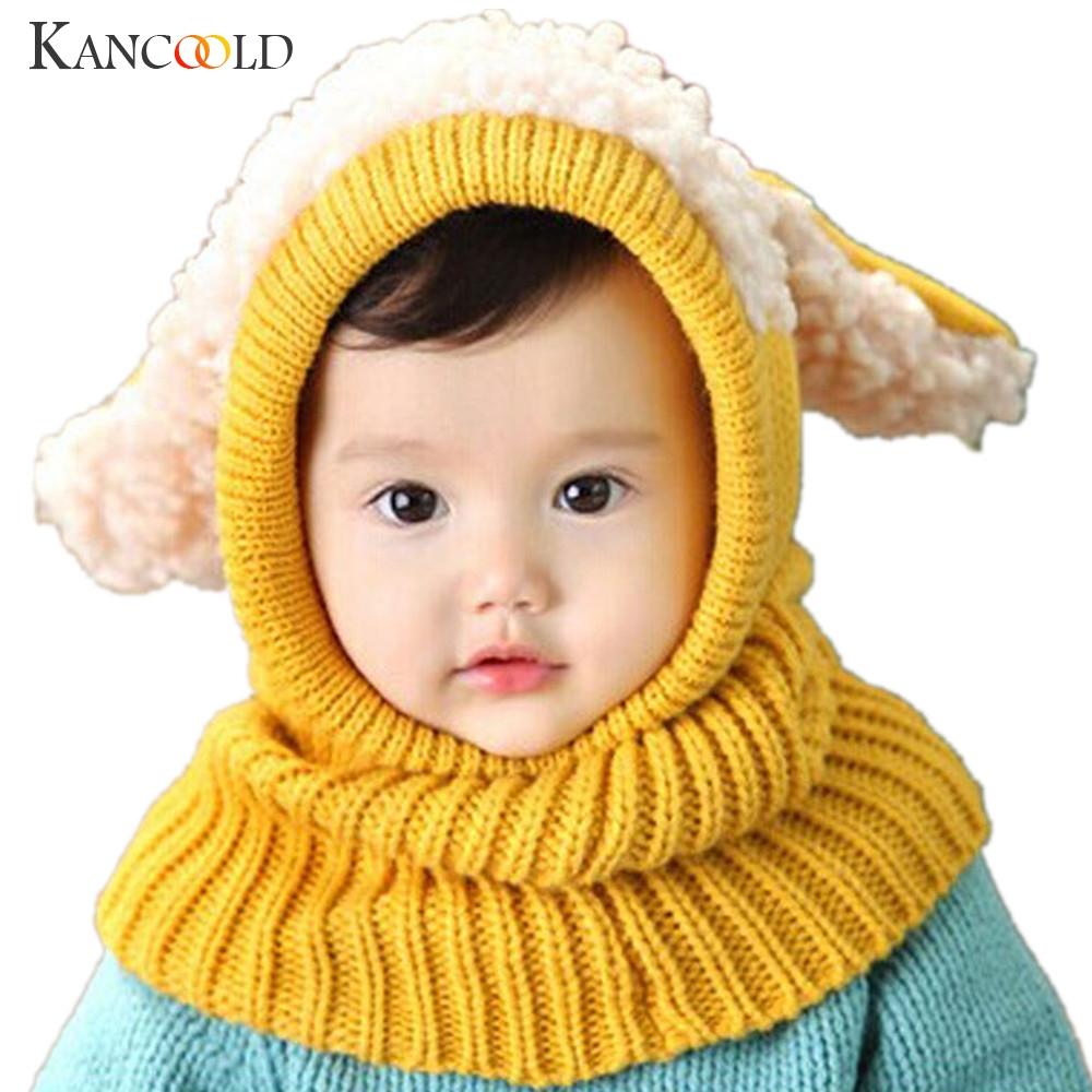New Winter Kids Girls Boys Warm Woolen Coif Hood Scarf Caps Breathable Touca Inverno Scarves Caps Winter Warm Cap Lamb Boy's Scarves