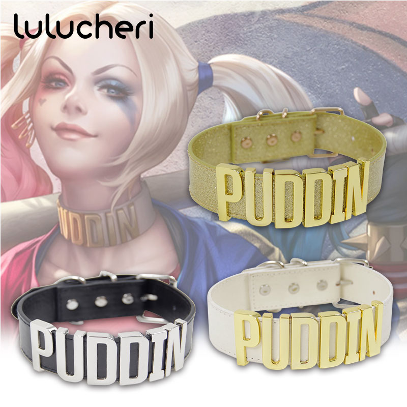 Cosplay Harley Quinn Choker Golden Necklaces Neck Jewelry Collier Costume Props Party Fashion Crown Retro Accessories for Women