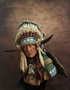Image 1 - Unassambled  1/10 ancient Leader of the Plains man bust   Resin figure miniature model kits Unpainted