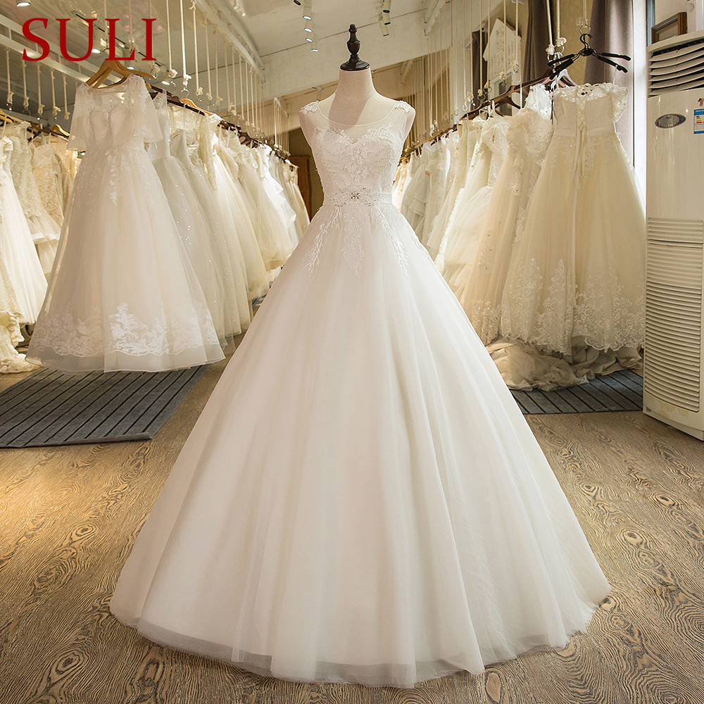 SL 2 Custom Made Tulle Lace Appliques A Line Luxury Beaded Bridal Wedding Dress