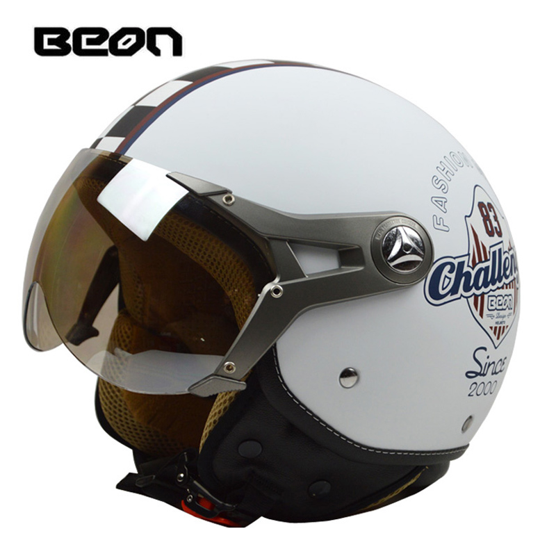BEON Motorcycle Helmet Half Face Goggles Visor Vintage Motorbike Electric Bicycle Protective Helmet все цены