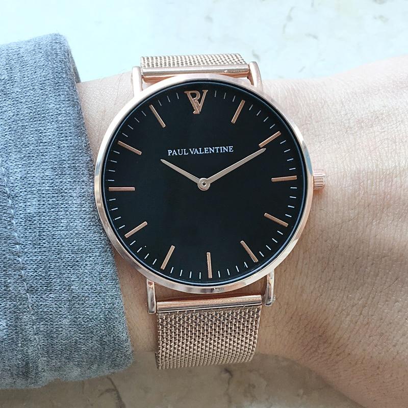 Paul San Valentín marca de lujo de las mujeres relojes impermeable oro rosa de acero inoxidable señoras reloj de cuarzo