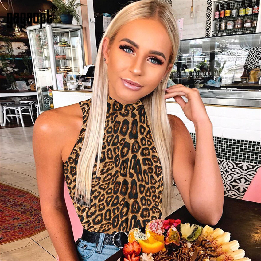 Gagaopt 2018 Leopard Bodysuit Women Sleeveless Bodycon Bodysuit Stand Collar Sexy Bodysuit Jumpsuit Romper Party Clubwear