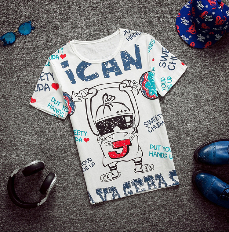 Plus Size Summer Men Cartoon Casual T-shirt Fashion weight liftting Short Sleeve Tops Tees Big 8xl Male Large Size Brand Cloth